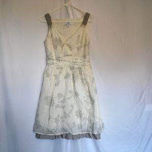 Ann Taylor LOFT White and Beige Floral Dress